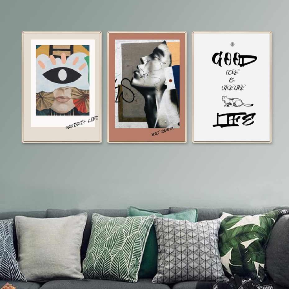 Europe Fashion Vintage Posters Canvas Paintings Creative Abstract Face Prints Wall Art Pictures Living Room Home Decration