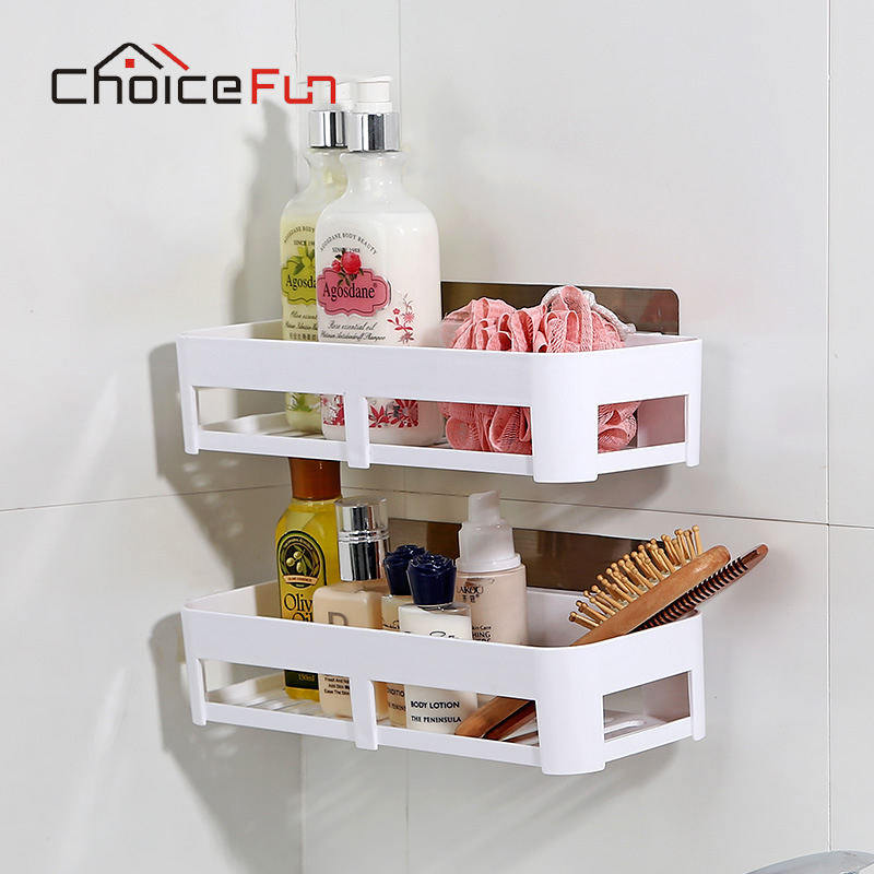 CHOICE FUN Bathroom Shelf Plastic Bathroom Storage Bathroom Wall ...
