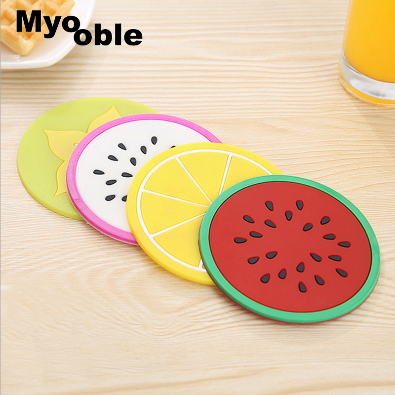 Buy 9 cm Fruit Table Mat Non-slip Colorful Silicone round Placemat Cup Coffee Mug Drink Coaster for $4.55 in AliExpress store