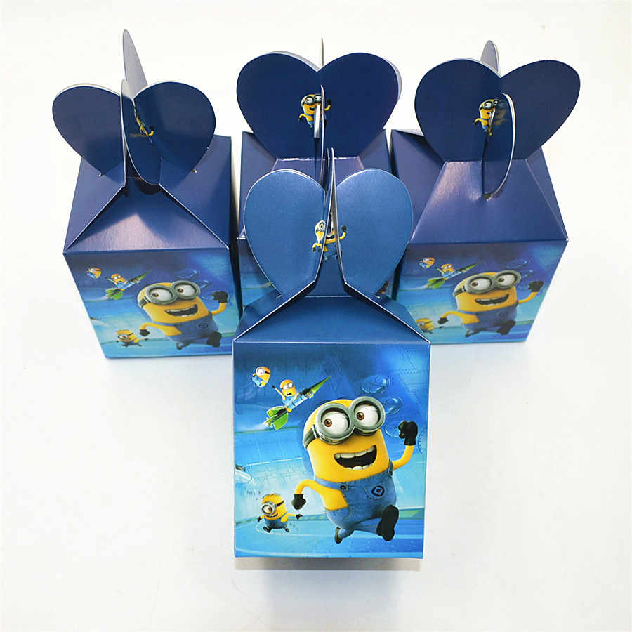 6 sztuk/zestaw Funny Minions zaopatrzenie firm pudełko cukierków przypadku pudełko dzieci urodziny Favor akcesoria urodziny miniony strona dekoracji