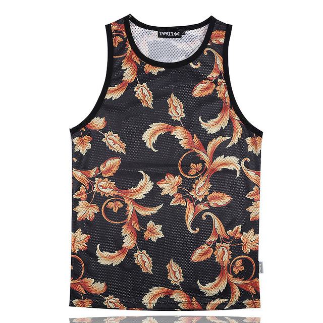 Patrón Floral de la moda de Oro 3D Print Tank Tops Mens Camiseta Transpirable adolescente Algodón Tee Loose Unisex Prendas de vestir de Flores