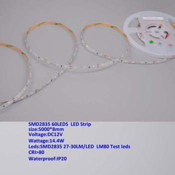 10m/lot High quality SMD2835 LED Strip Flexible Lights  60leds/m 14w/m DC12V white color, IP20