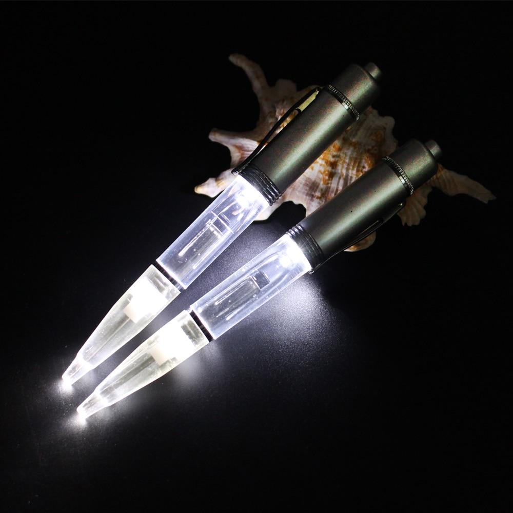 Metalen LED licht balpen LED Glow licht pen Metalen materiaal Licht balpen met extra vulling en batterijen