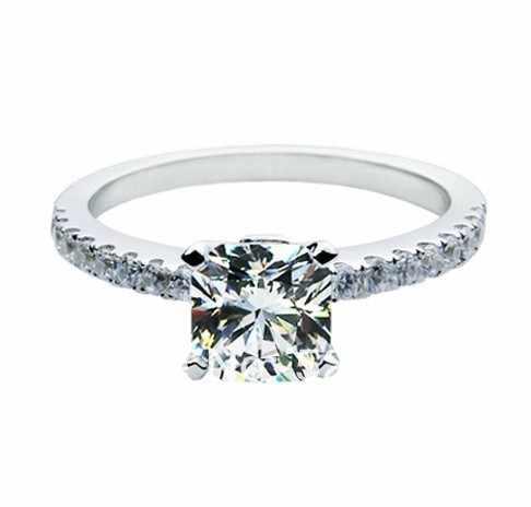 1CT 6*6mm marque qualité Engagement SONA simuler coussin diamant bague femmes en argent Sterling 925 plaqué or blanc Micro pavé
