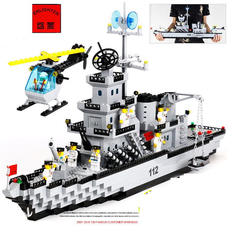 ENLIGHTEN 970pcs CombatsZone Military Missile Cruiser Battleship Helicopter DIY Model Building Blocks minifig Kids Toys Gift enlighten building blocks military cruiser model building blocks girls