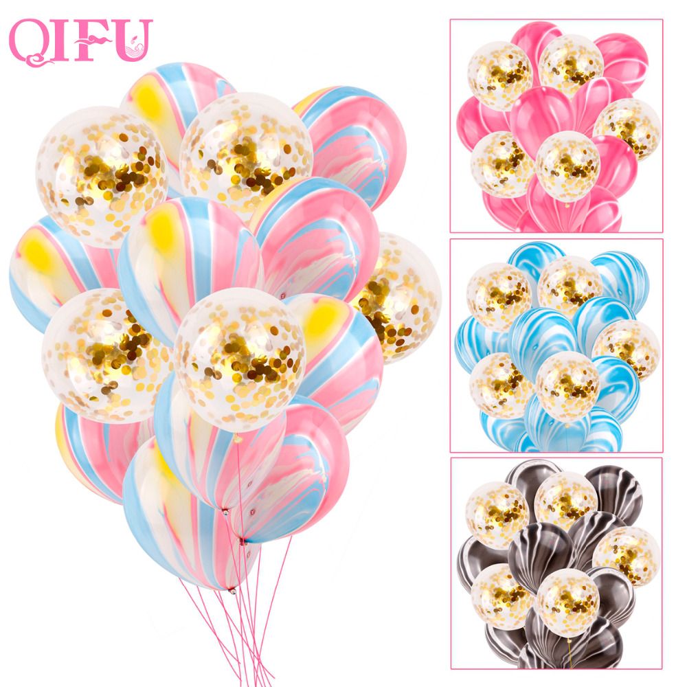QIFU 12inch Giant Confetti Balloon Helium Rose Gold Inflatable Latex Balloons Air Children Birthday Balloons Party Supplies Pink