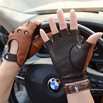 Męskie skórzane rękawiczki bez podszewki rękawiczki z koziej skóry dla mężczyzn rękawiczki pół bez palców rękawiczki bez palców Fitness antypoślizgowe rękawiczki do jazdy Man tanie i dobre opinie Prawdziwej skóry Dla dorosłych Patchwork Nadgarstek Moda Spring Summer Autumn Winter Genuine Leather Gloves Men Leather Gloves mens mittens