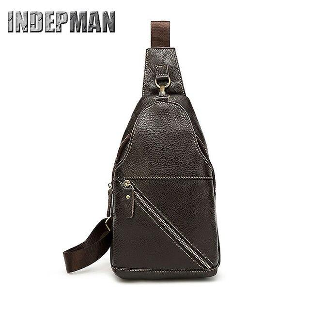 3f6b20d23b Men s 100% Genuine Leather Shoulder Bag Cowhide Crossbody Sling Hiking Satchel  Chest Bags Pack Small Backpack