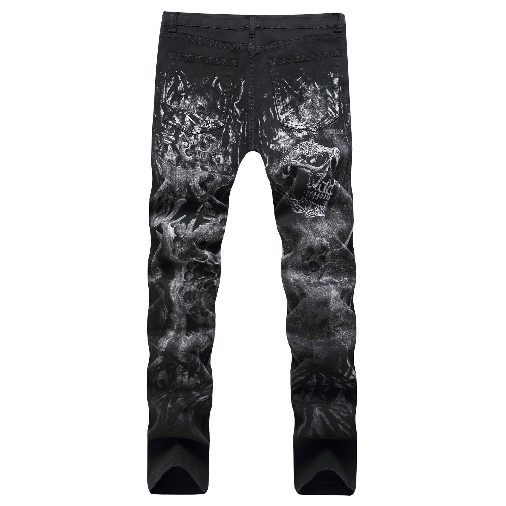 2017 New Men's Design Skull Print Casual Jeans Devil Pattern Stretch Jeans Men's Cotton Slim Motorcycle Denim Pants