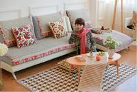 90cm Wide Cotton Sofa Towel Plaid Sectinal Sofa Cover Slip Resistant Double seat Three seat Sofa Towel Cover Carpet Home Textile