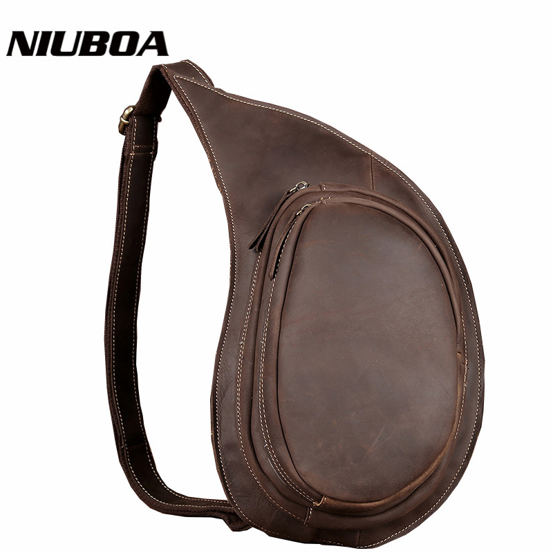 NIUBOA New Genuine Leather Men Chest Bag High Quality Vintage Casual Crazy Horse Cowhide Small Messenger Bags Man Shoulder Bags simline 2017 vintage genuine crazy horse leather cowhide men men s messenger bag small shoulder crossbody bags handbags for man