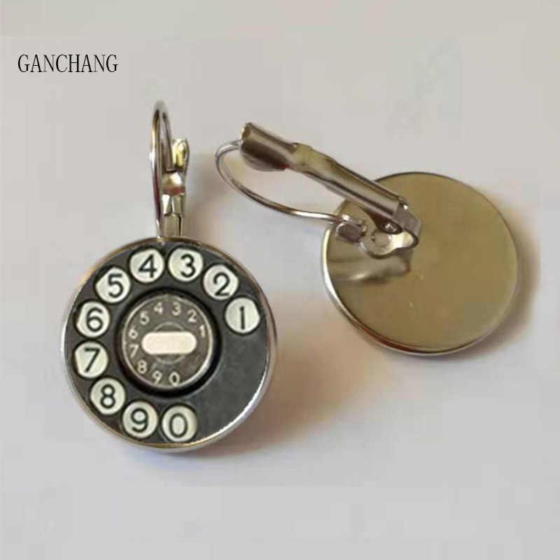 新しいファッションヴィンテージ電話スタッドのイヤリング手作りガラスドームレトロ電話ダイヤルクラシックジュエリーラウンドイヤリング