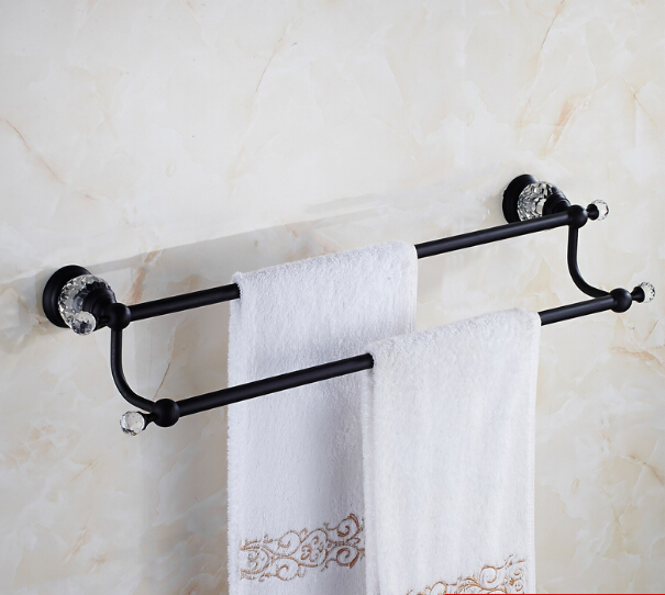 High Quality Double Towel Bar,Towel Holder, Towel rack Solid Brass & Crystal Made,Black Oil Brushed Finish, Bathroom Accessories batroom golden crystal double cup holder bathroom double cup rack holder hardware bath sets bathroom accessories