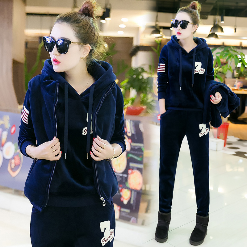 Women Tracksuit Sportswear Winter Fleece Velvet Thick Hoodies Sweatshirt+pants+vest Running Jogging Casual Set Sport Warm Suit brand 2017 hoodie new zipper cuff print casual hoodies men fashion tracksuit male sweatshirt off white hoody mens purpose tour