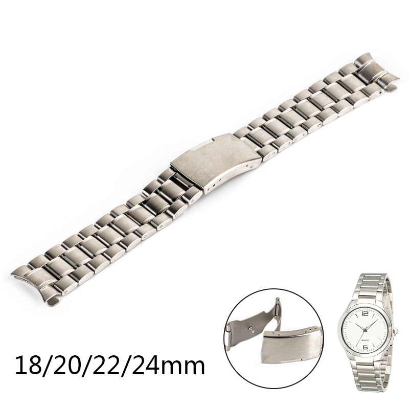 Fashion Women/Men Watch Band Replacement Wrist Watch Strap Curved End Genuine Stainless Steel Wrist Bracelet Straps 3 Colors