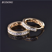 BUDONG 2017 Fashion Pave Princess Crystal Hoop Earrings for Women  Silver/Gold Color White Cubic Zirconia Wedding Jewelry E135