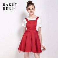 Darcydebie woman Fashion Women Dress Cute Color Block Patch Work Crew Neck Short Sleeve Ruffles A line Mini Dress Slim Dress