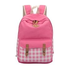 Холст школьный рюкзак для девушки милые плед школьная сумка рюкзак для ноутбука для девочек-подростков