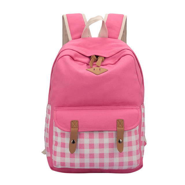 Canvas School Backpack For Girls Cute Plaid School Bag Laptop ...