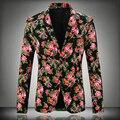 Además tamaño 4XL 4 Color de impresión hombres Casual Blazers 2015 nuevo negocio de moda otoño chaqueta caliente de la venta hombres Slim Fit trajes de hombre abrigo
