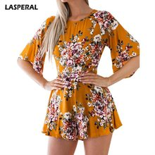 LASPERAL Sexy Jumpsuit Fashion Half Sleeve Summer Beach Playsuit Floral Print Women Playsuit Shorts 2018 New