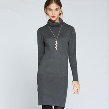 Women Winter Sweater Dress 2016 New Fashion Women's Turtleneck Pullover Sweater Long Sleeve Knitted Bodycon Stretch Casual Dress