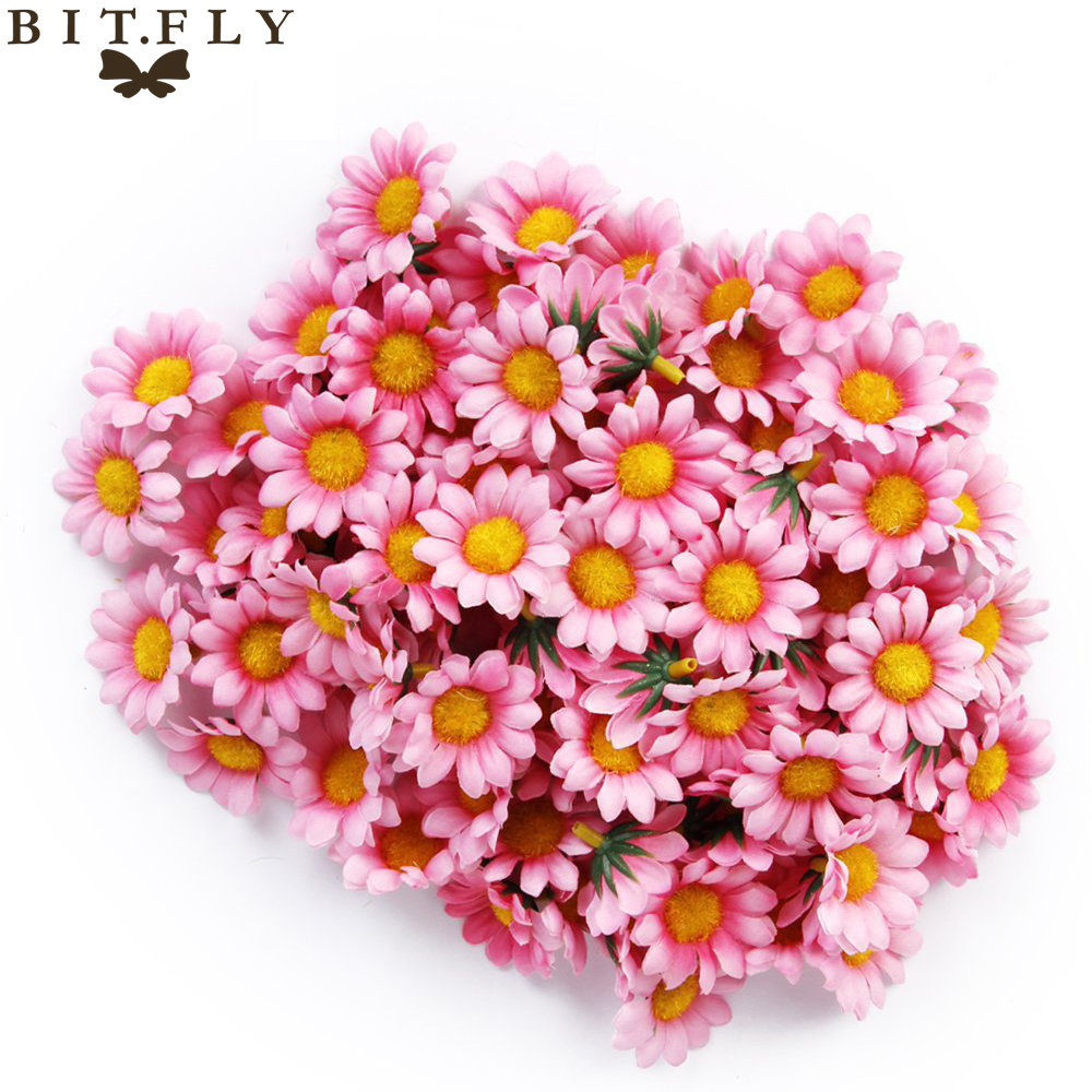 100pcs 4cm gerbera daisy chrysanthemum flowers head diy handmade 100pcs 4cm gerbera daisy chrysanthemum flowers head diy handmade silk artificial fake flower for wedding home decorative in artificial dried flowers from izmirmasajfo