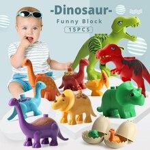 UMEILE 15/39/65/100 PCS Jurassic Dinosaur World Large Building Blocks Toys Animal Set Brick Compatible with Legoing Duplo Gift