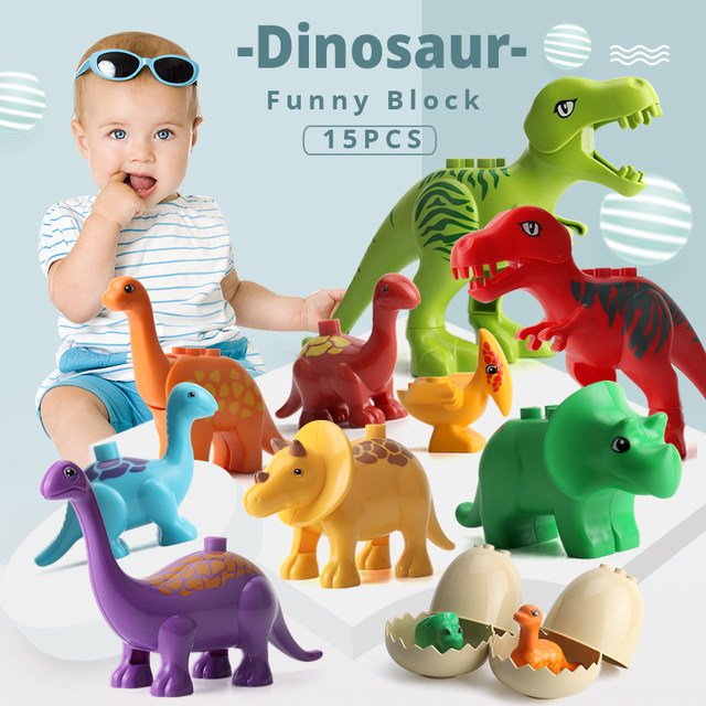 UMEILE 15/39/65/100 pièces jurassique dinosaure monde grands blocs de construction jouets Animal ensemble brique Compatible avec Legoing Duplo Gift