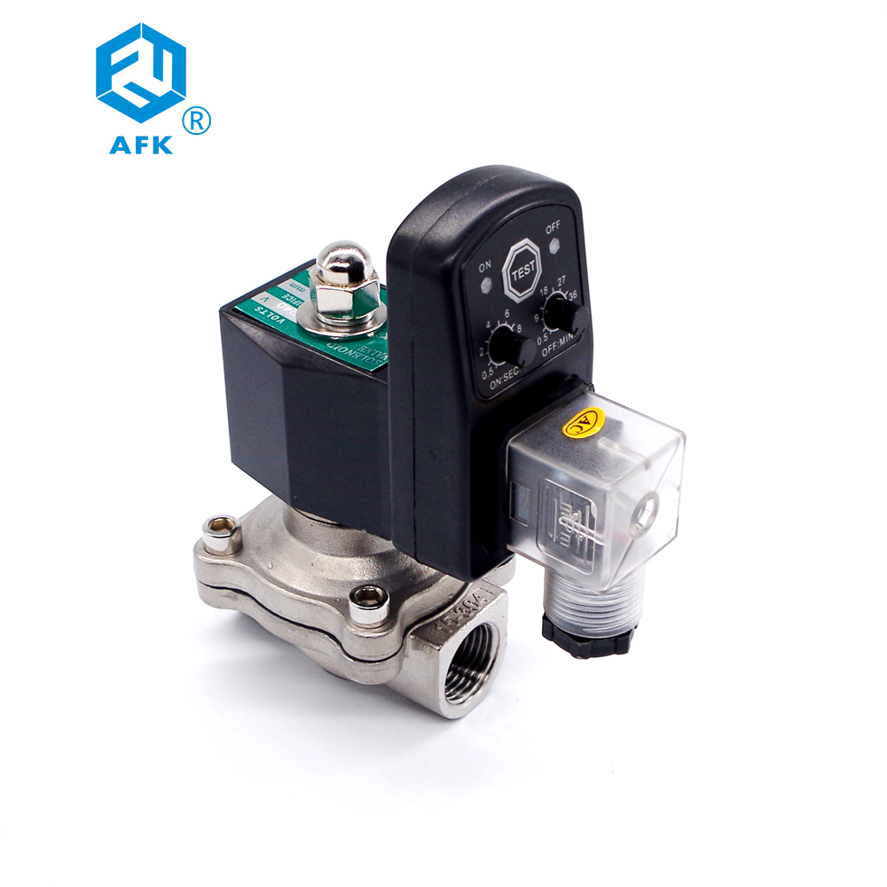 Stainless Steel Normally Closed Water Solenoid Valve 220v With Timer 3/4 Inch