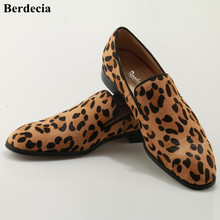 Berdecia Discount Top Quality Leopard Suede Dress Shoes Prom Slip On Men Shoes Flats Loafers Horsehair Luxury Brand Shoes Men