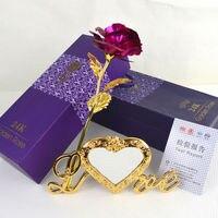 جميلة 24 k الذهب مطلي الذهبي روز الزهور الذكرى الأمهات اليوم صديقة هدايا الزهور الاصطناعية