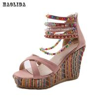 Brand New Women S Shoes Bohemian High Heel Wedge Sandals Fashion Color Beaded Chain Thick Crust