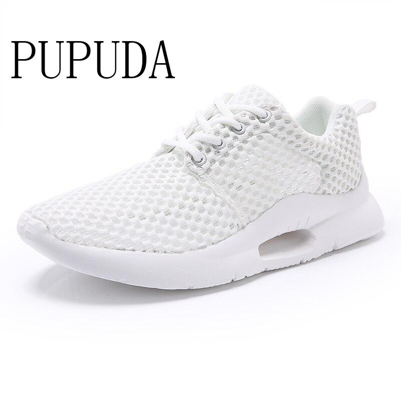PUPUDA chaussures d'été homme blanc baskets hommes 2019 respirant maille chaussures décontractées noir tendance chaussures pas cher grande taille 48 Sport Sneaker