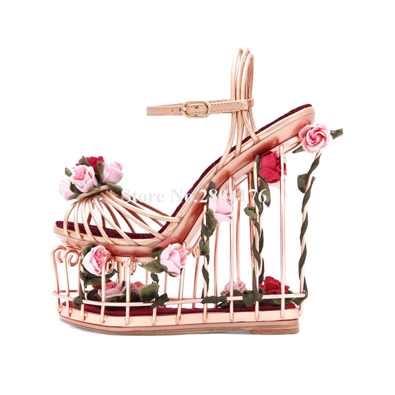 Ladies Luxury Metal Plating Rose Gold Caged Flowers High Platform Wedge Sandals Cut-out Bottom Ankle Strap Wedge Sandals women unique metal caged design high platform wedge sandals cut out flowers decoration ankle strap super high wedge sandals