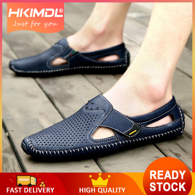 HKIMDL  Men Father Sandals Cow Leather Black Brown Male Summer Shoes Breathable Hard-Wearing Hollow Men Shoes