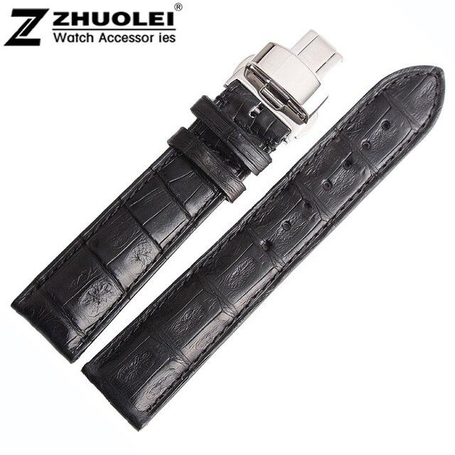 18mm 19mm 20mm 21mm 22mm 24mm Tamanho Available1pcs Preto Genuine Alligator Leather Watch Strap Borboleta banda Fivela de Implantação