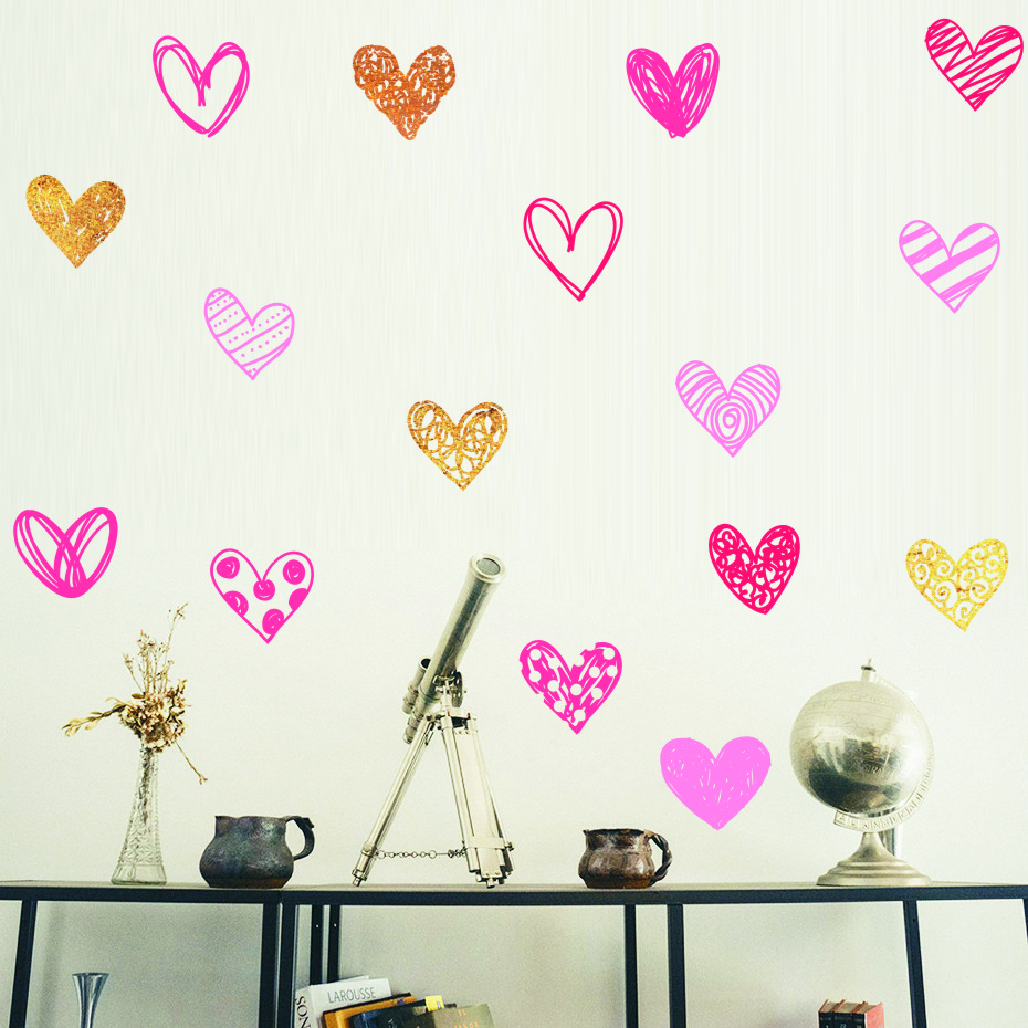 Heart Wall Sticker For Kids Room Baby Girl Room Decorative wallpaper Nursery Bedroom Wall Decal Stickers Home wall Decoration