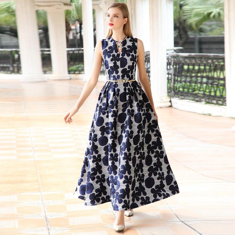2018 kedatangan baru kualitas tinggi musim panas wanita berpakaian, Elegan bunga Jacquard gaun tanpa lengan, V-neck rompi, Maxi Dress panjang Cosplay