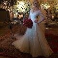 Robe De Soirée Lantejoula Renda Vestidos de Casamento 2017 V-Decote Mangas Compridas Mermaid Vestido de Noiva Vestido De Noiva vestido de Noiva vestidos