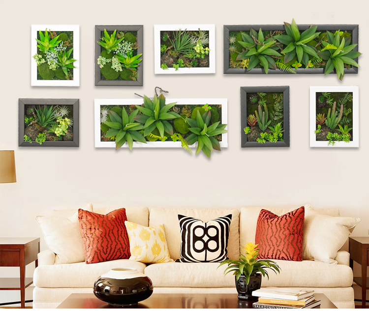 Hot 3D Artificial Potted Plants Home Decoration Nature Wall Hanger Palor Room Decorative Frame Simulation Wall Sticker