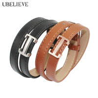 High Quality Fashion Men Leather Bracelet U BELIEVE Double Wrap Bangles Men Women Jewelry Titanium Charm