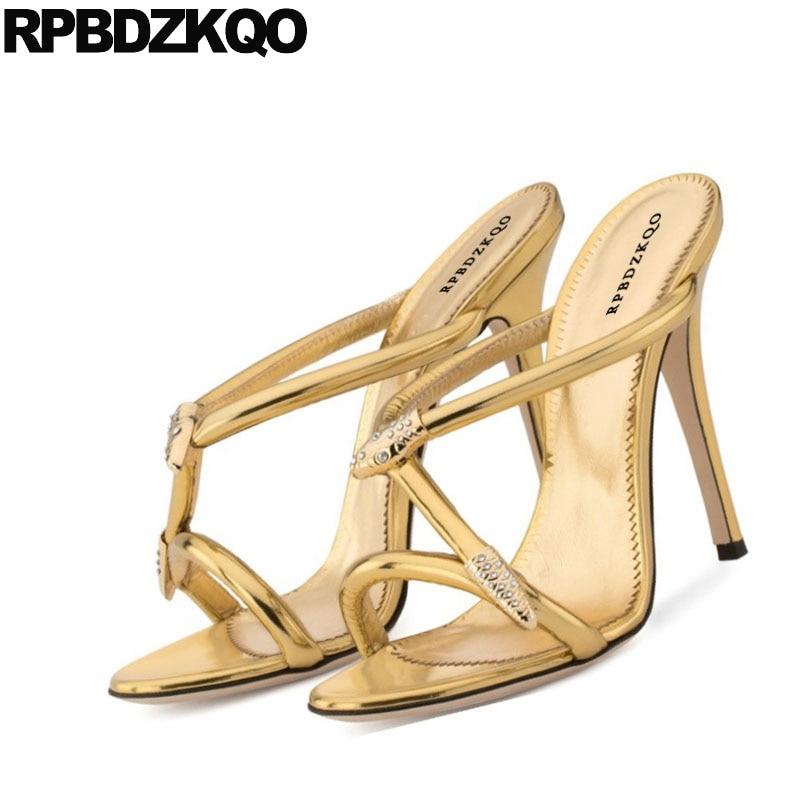 Verano Estilete Tiras De Delgados Embellecido Serpiente oro Mujeres 2017 Lujo Oro Zapatos Negro Diseñador Alto Diapositivas Tacón Ponerse Sandalias Zapatillas Tacones Negro Boda R4q55wCFx