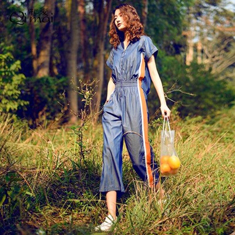 Solido Tuta Femminile Nuova Xy063 Gamba Moda Blue Della Vita Di Tute Colore Larga A 2018 Casuale Delle Donne Estate Alta Denim Signora qxRXPP06