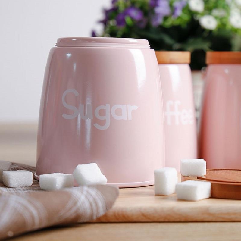 3 pièces/ensemble réservoir de stockage qualité belle acier ménagère ustensiles de cuisine multifonction thé café sucre boîte carrée caisse rose - 2