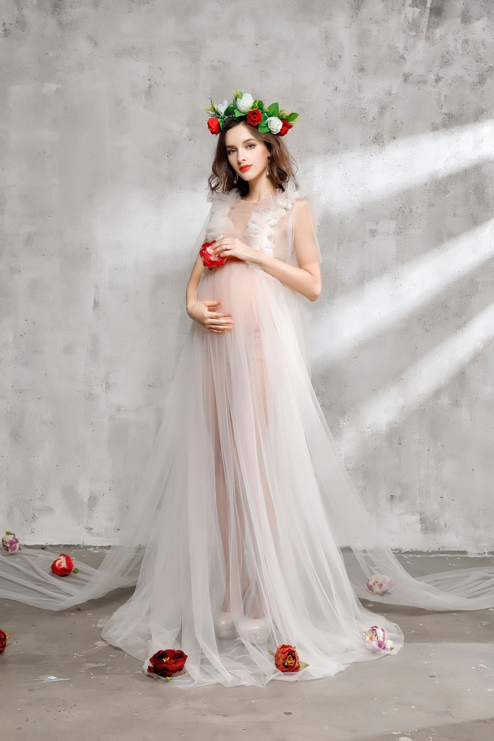 aternity photography dress gauzedress studio maternity photography