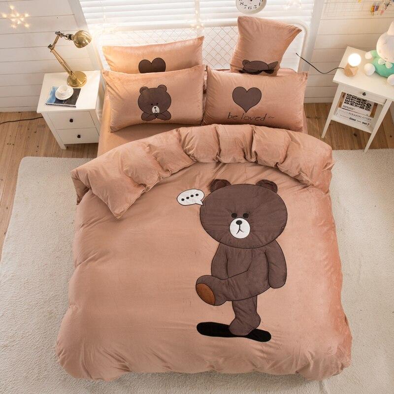 Cartoon Bear Panda Rabbit Cat Embroidery Warm Winter Flannel Child Bedding Set Fleece Fabric Duvet Cover Bed Sheet Pillowcases