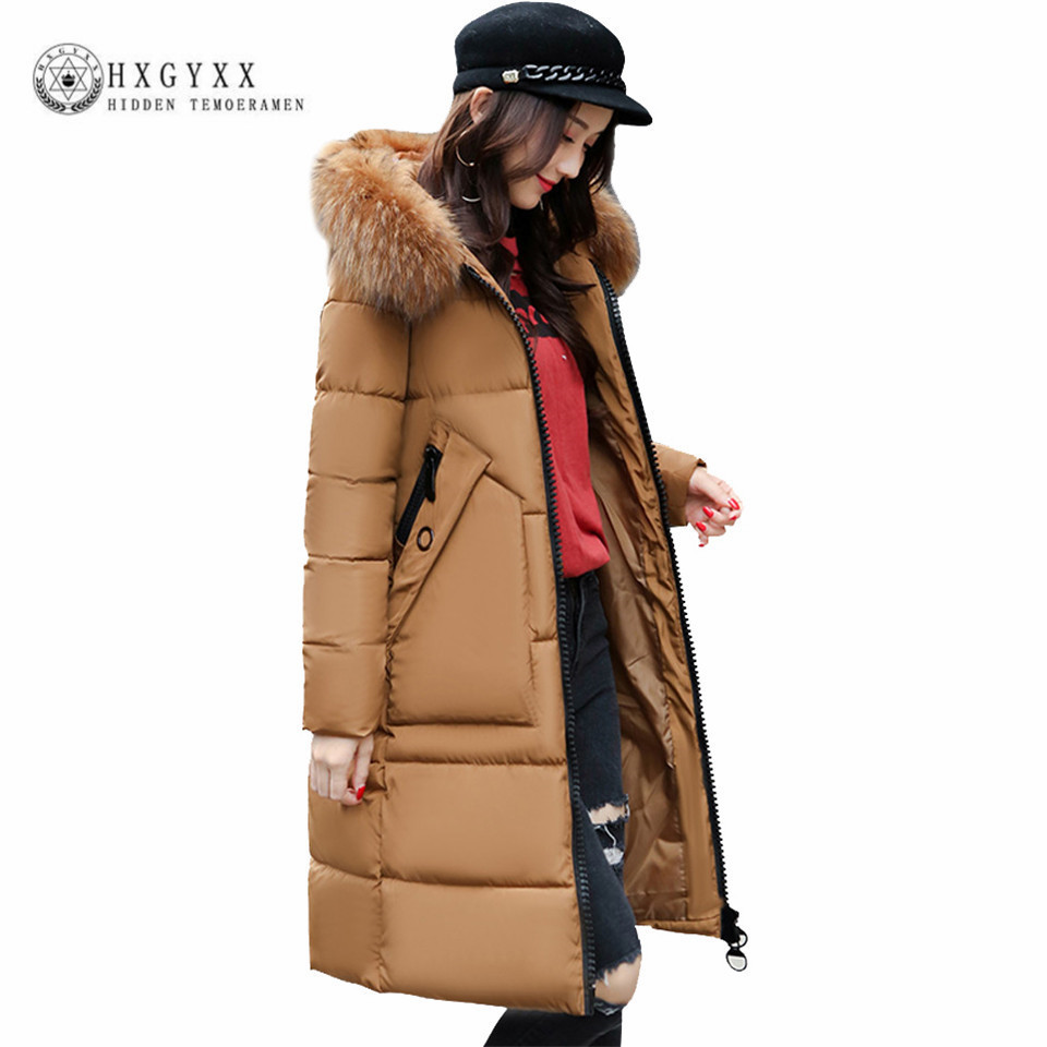 Warm Winter Jacket Women 2017 Fur Fashion Hooded Down Cotton Coat Long Quilted Parkas Solid Color Clothing Snow Wear Okb61 цены онлайн