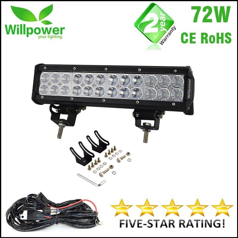 Willpower 12 дюймов 72 Вт внедорожный светодиодный двухрядный комбинированный луч Автомобильный светодиодный световой бар для 4x4 4WD грузовика UTV