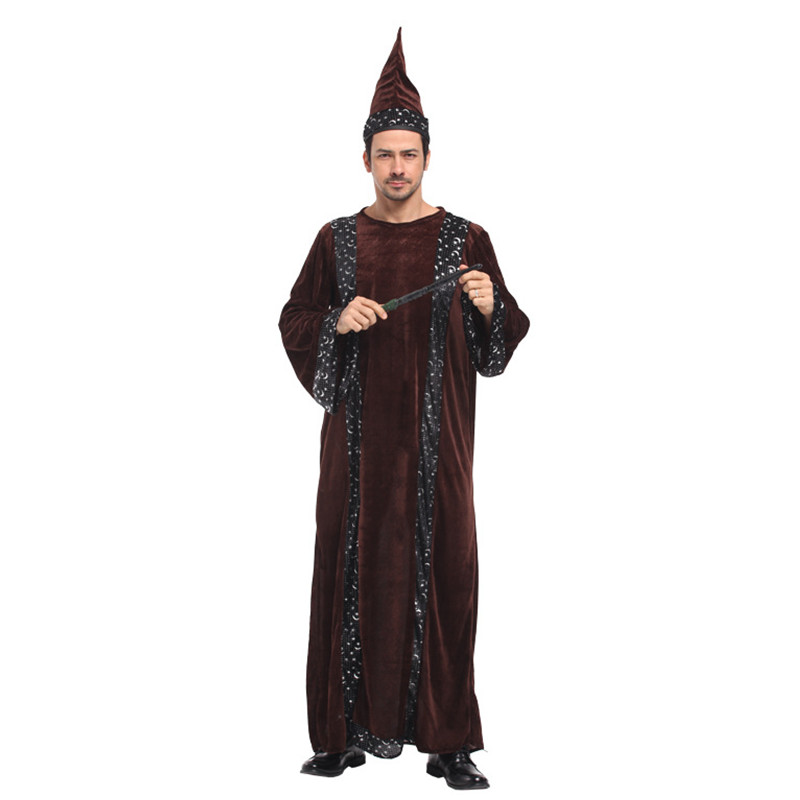 Master Cosplay Showing cloth Men Halloween Magician Costume Magic gown Carnival Purim Masquerade Holiday Festival parade dress